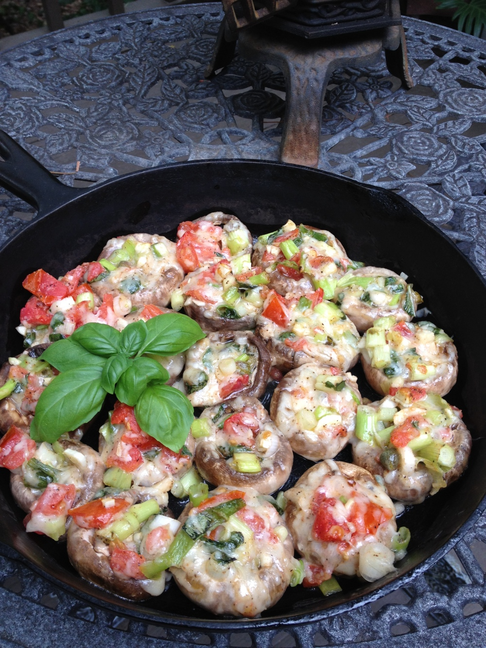 Skillet w stuffed mushrooms outdoor